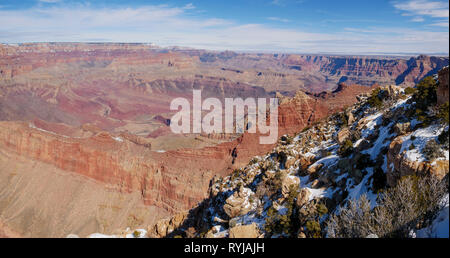A panoramic view from Lipan Point to the northeast of the Grand Canyon. Colorado River at center left. Tilted Grand Canyon Supergroup visible. - Stock Image