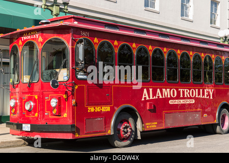 Alamo Trolley bus tour San Antonio Texas USA - Stock Image