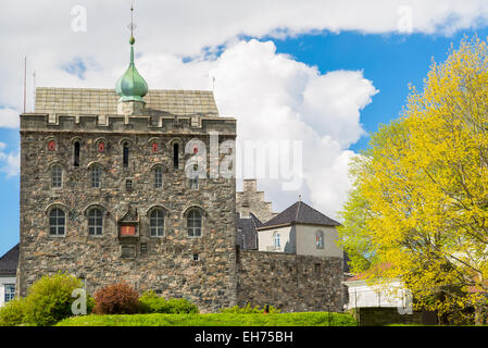 Picture of the famous rosenkrantztower in Bergen, built in the 1500 - Stock Image