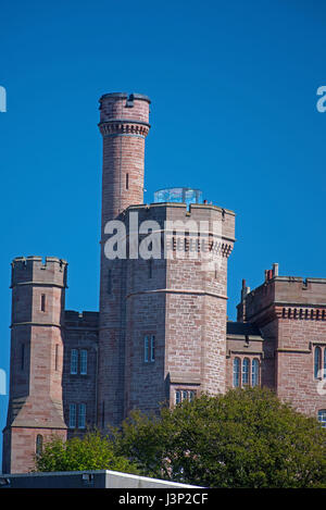 Inverness Castle high above the River Ness in the Highland's capital city. - Stock Image