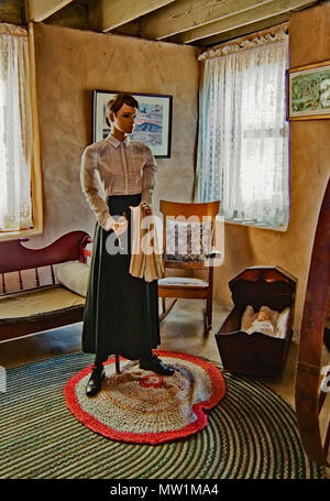 Mannequin  of Mormon Woman illustrating the life  in the house of Old Las Vegas Mormon Fort, the first non-native settlement in Las Vegas Valley, NV - Stock Image