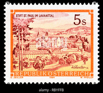 Austrian postage stamp (1984) : Monasteries and Abbeys series: Benedictine monastery St. Paul, Lavanttal - Stock Image