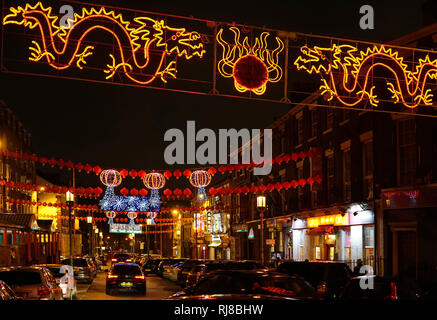 Liverpool, UK. 5th February, 2019. Chinese lanterns and colourful lights light up Nelson Street in Liverpool's Chinatown for the Chinese New Year. Credit: Pak Hung Chan/Alamy Live News - Stock Image