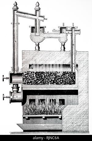 An engraving depicting a gas making apparatus utilising super heated steam to aid the decomposition of tar and other products in gas retorts. Dated 19th century - Stock Image