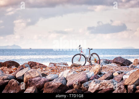 Vintage old rusty red bicycle parked on the rocks of a breakwater with sea and sky background - Stock Image