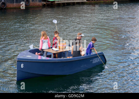 GoBoat picnic and fishing  trip in the canals of Copenhagen Harbour - Stock Image