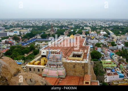Tiruchirappalli (Trichy) city view from Ucchi Pillayar Temple, with Main Guard Gate and Our Lady of Lourdes Church far letf, Tamil Nadu, India. - Stock Image