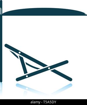 Sea beach recliner with umbrella icon. Shadow reflection design. Vector illustration. - Stock Image