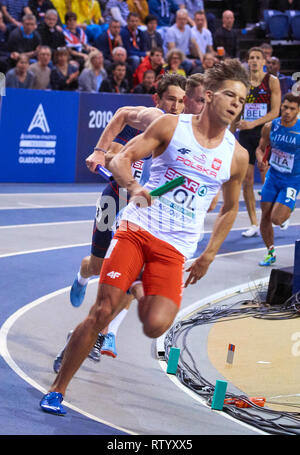 Glasgow, UK: 3rd March 2019: Polish relay men team in 4x400m fails to deliver missing out on a medal on European Athletics Indoor Championships 2019.Credit: Pawel Pietraszewski/ Alamy News - Stock Image