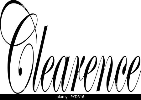 Clearence text sign illustration om white background - Stock Image