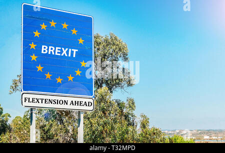 European Union negotiators are prepared to offer the UK a Flextension until 2020 to leave the trading bloc, according to European Council Chief - Stock Image