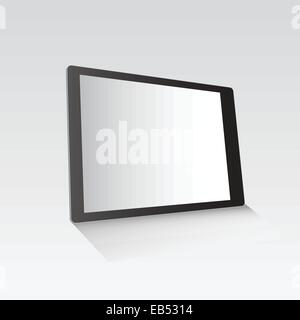 Digital tablet standing on grey surface - Stock Image