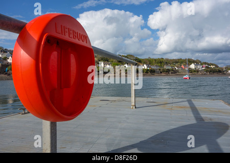 A lifebuoy on a pontoon with it's life ring missing - Stock Image