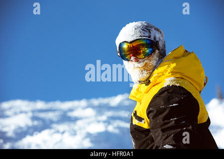 Skier portrait slope resort copyspace - Stock Image