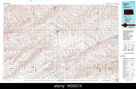 USGS TOPO Map Kansas KS Oberlin 512919 1985 100000 Restoration - Stock Image