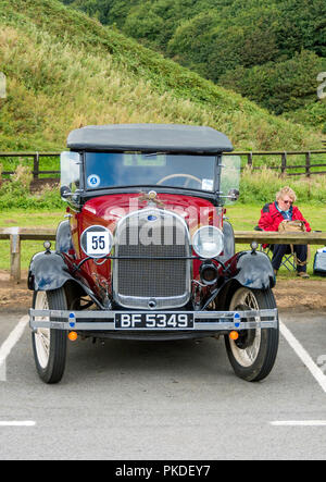 Front view of a 1969 Ford A Phaeton motor car at an Historic Motor Gathering in September 2018 at Saltburn Cleveland UK - Stock Image