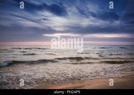 Sunset over the Baltic sea in Latvia. - Stock Image