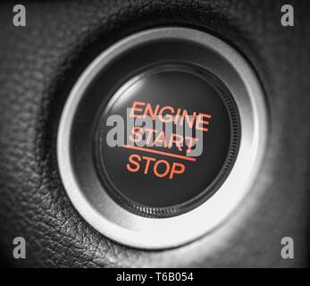 start stop car engine red button macro shot - Stock Image
