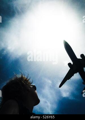 Comercial jet airplane landing in Barcelona airport, Catalonia - Stock Image