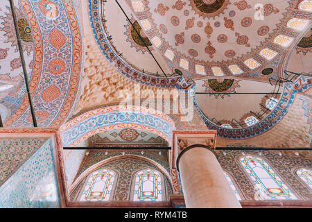 Istanbul, Turkey - August 15, 2018: The interior decorations of the Sultan Ahmed Mosque or Blue Mosque on August 15, 2018 in Istanbul, Turkey - Stock Image