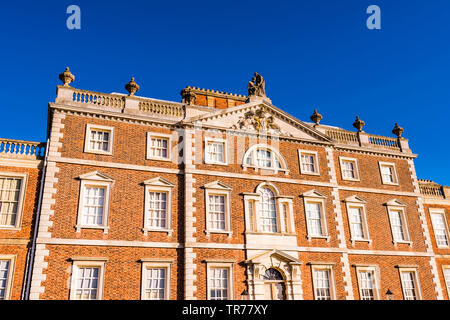Sunny facade at the Wimpole Estate, Cambridgeshire, UK - Stock Image