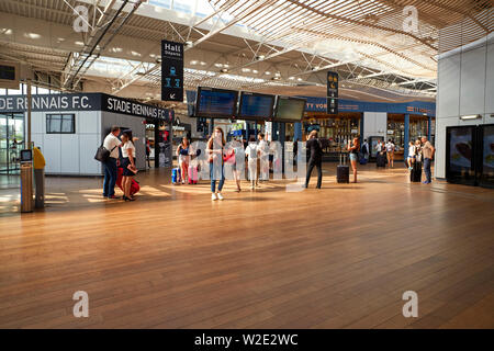 SNCF train station concourse at Rennes, captial of Brittany, France - Stock Image