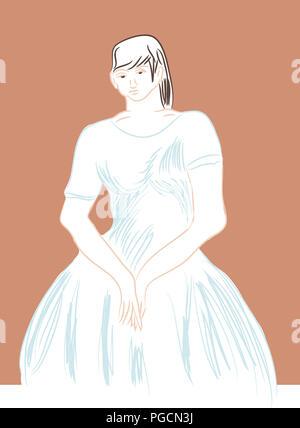 Standing woman.  Standing woman and her big skirt dress. - Stock Image