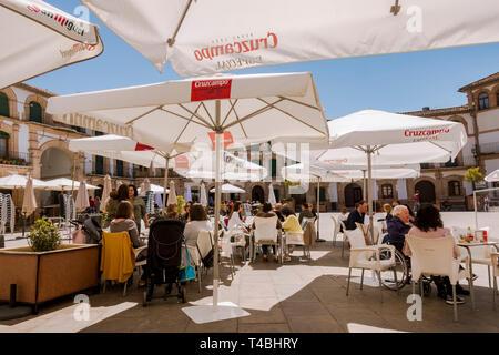 Archidona Spain, busy terrace at Plaza Ochavada, Ochavada square, octagonal plant, in Andalusian Baroque style, Archidona, Andalusia, Spain. - Stock Image