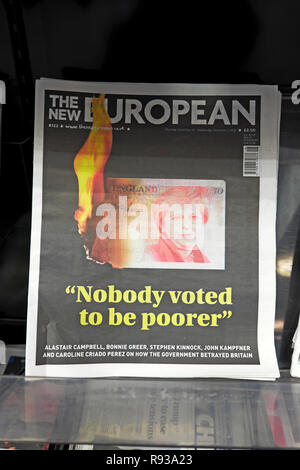The New European newspaper headline 'Nobody voted to be poorer' anti Brexit Theresa May front page November December 2018  London England UK - Stock Image