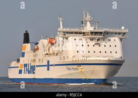 TT-Line's Robin Hood arrives at Travemünde - Stock Image