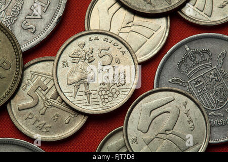 Coins of Spain. Stilt Dancer of Anguiano, La Rioja Province, Spain depicted in the Spanish five peseta coin (1996). - Stock Image