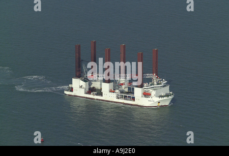 Aerial view of the Mayflower Resolution Wind Turbine Installation Vessel at sea off the Kent Coast in the English Channel - Stock Image