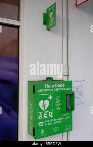 A Heartsafe Defibrillator cabinet, donated by the Lions on behalf of the Heart Rhythm Charity, the Arrhythmia Alliance, on 27th December 2018, in Clevedon, North Somerset, UK. - Stock Image