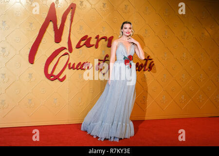 London, UK. 10th Dec 2018. Margot Robbie at Mary Queen Of Scots European Premiere on Monday 10 December 2018 held at Cineworld Leicester Square, London. Pictured: Margot Robbie. Credit: Julie Edwards/Alamy Live News - Stock Image