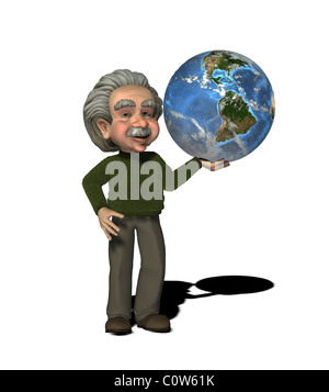 Albert Einstein (german physicist, 1879 - 1955) with globe - Stock Image