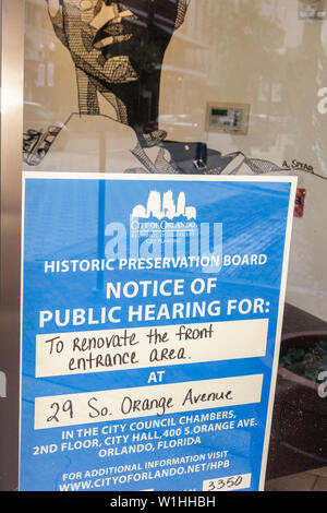 Orlando Florida South Orange Avenue Downtown Historic District revitalization preservation sign notice public hearing City Counc - Stock Image