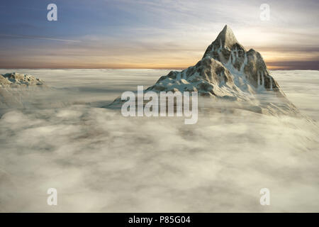 Peaks of high mountains above the clouds by the sunset. 3D render illustration. - Stock Image