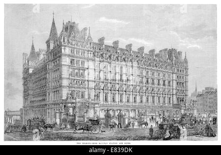 Charing Cross Railway station London and Hotel circa 1885 - Stock Image