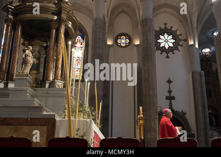Tenerife, Canary Islands, Clergy during the Palm Sunday Holy Week service in the Cathedral of San Cristobal de La Laguna. - Stock Image