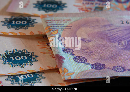 Banknotes of one hundred Argentine pesos - Stock Image