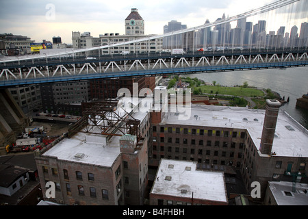A section of the Manhattan Bridge viewed from a Dumbo rooftop, Brooklyn, NY, USA - Stock Image
