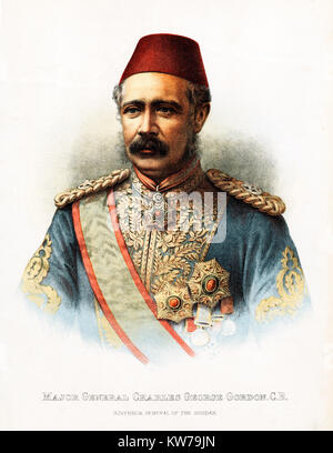 Major-General Gordon, 1885 portrait of the Governor General of the Sudan, killed by the Mahdi at the end of the - Stock Image