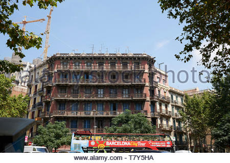 Barcelona Tour Bus on  Street in the City of Barcelona in Catalunya in Spain in Europe - Stock Image