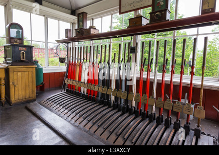 Train Signal Box at Beamish Living Open Air Museum - Stock Image