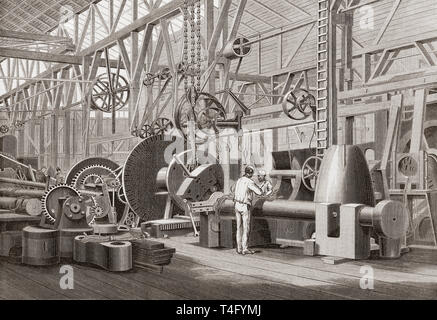Penn's marine engine factory, Greenwich, London, England, 19th century. Turning a paddle shaft for a steam ship.  From The Illustrated London News, published 1865. - Stock Image