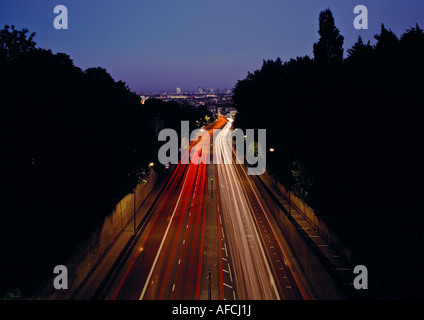 South-Eastern night shot from A1 overpass on Hornsey Lane, London. Also known locally as 'Suicide Bridge' - Stock Image