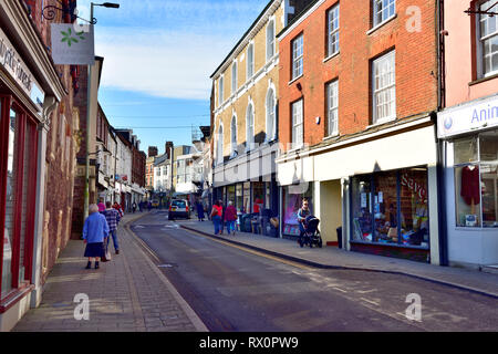 High street with shops in Tiverton, Devon, UK - Stock Image
