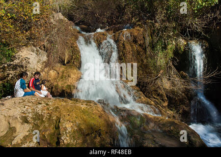 Hueznar river waterfalls. Sierra Norte Natural Park. Seville province. Region of Andalusia. Spain. Europe - Stock Image