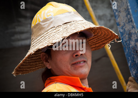 construction worker hong kong  building site - Stock Image
