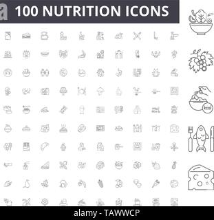 Nutrition line icons, signs, vector set, outline illustration concept  - Stock Image